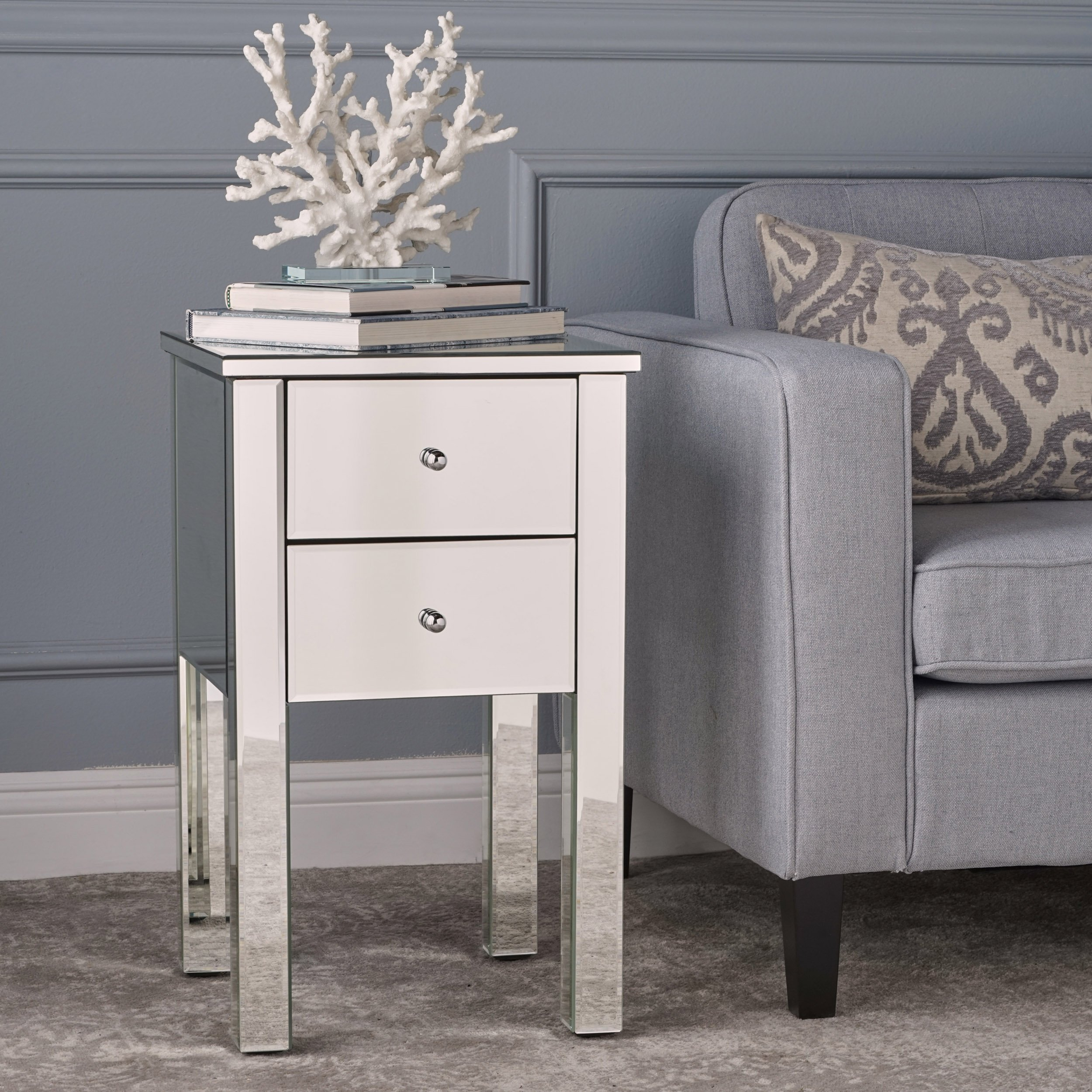 Seranade Mirror Finished 2 Drawer Side Table