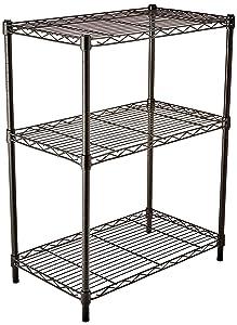 AmazonBasics 3-Shelf Shelving Unit - Black (Renewed)