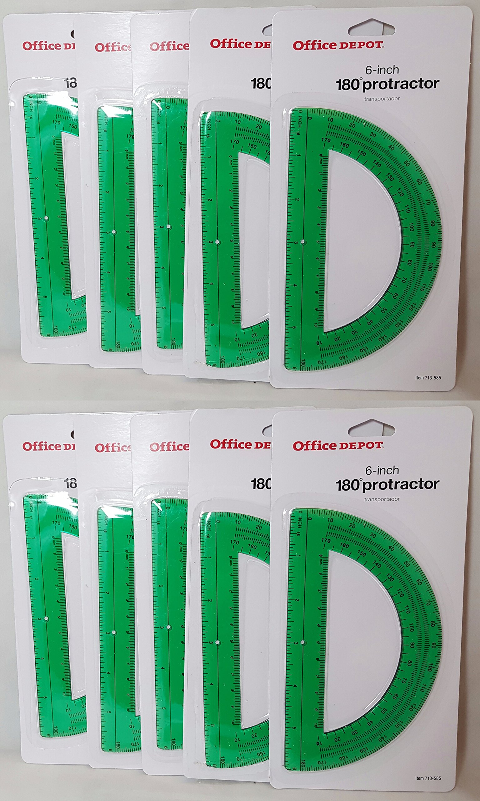 Office Depot Brand Semicircular 6'' Protractor, Green (Set of 10)