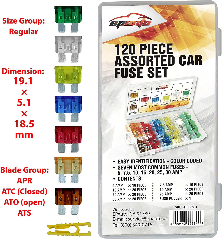 120 Pieces - EPAuto Assorted Car Truck Standard Blade Fuse Set (5/7.5/10 / 15/20 / 25/30 AMP): Automotive