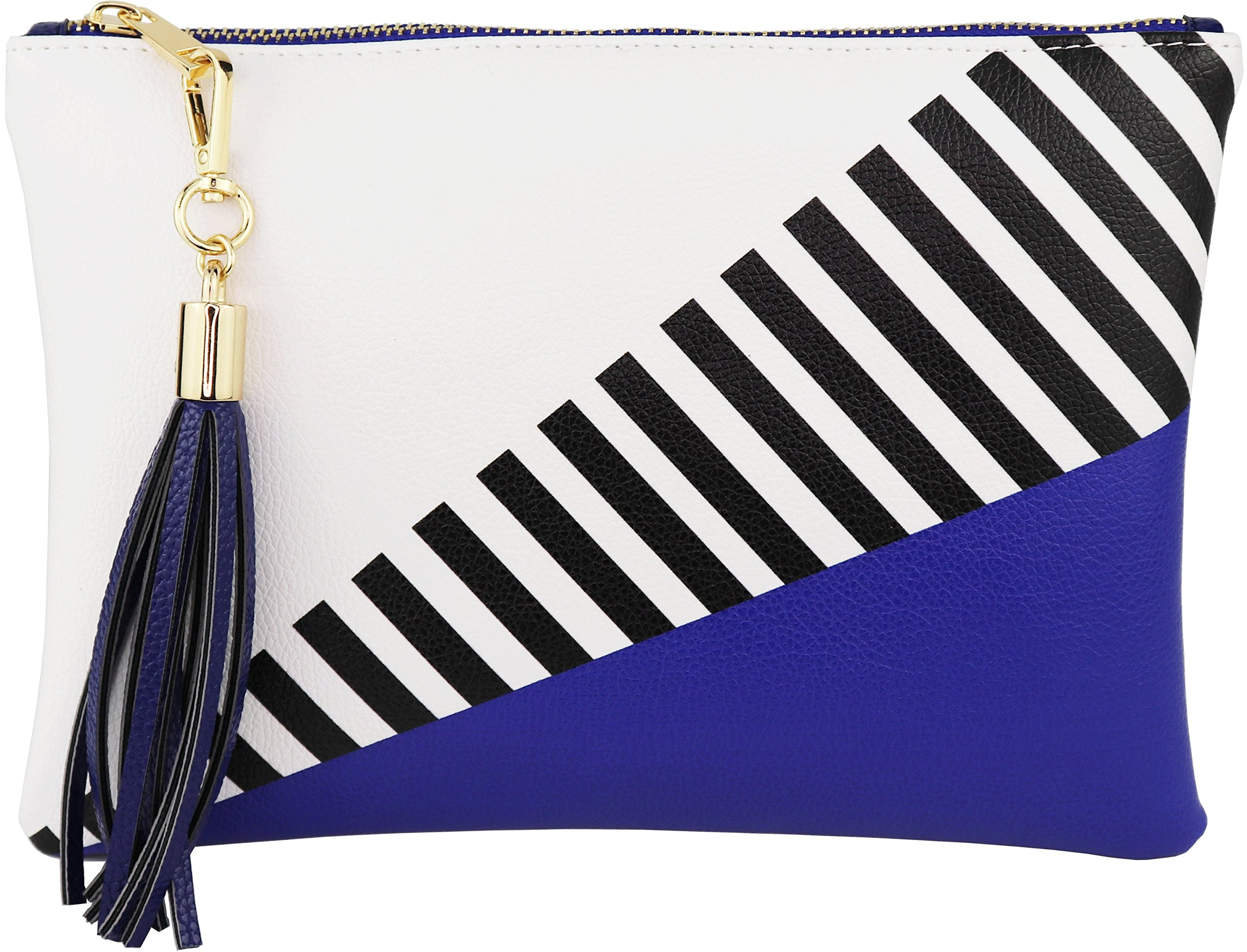 B BRENTANO Vegan Clutch Bag Pouch with Tassel Accent (Blue) by B BRENTANO
