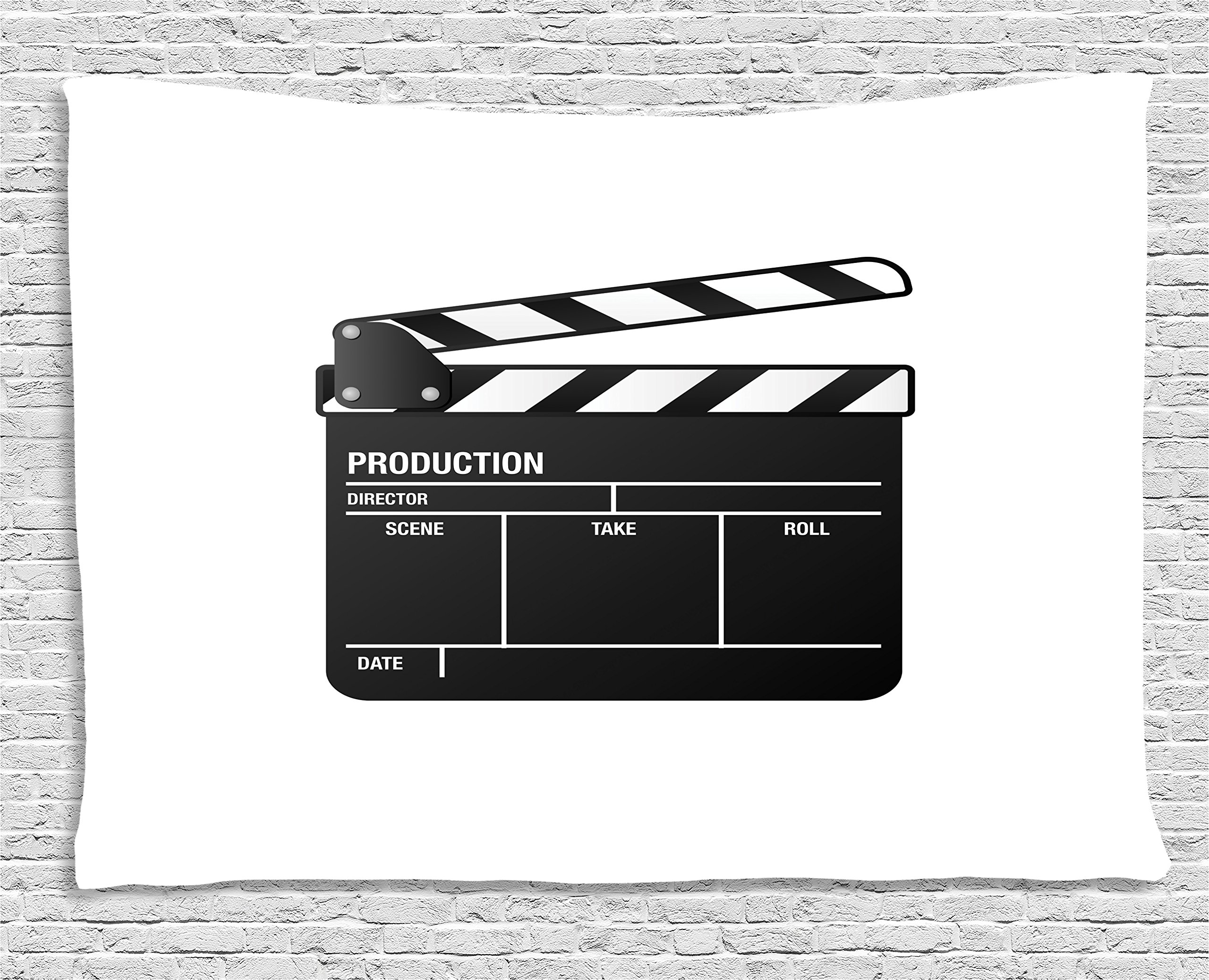 Ambesonne Movie Theater Tapestry, Realistic Illustration of a Clapper Board Symbol for Film and Video Industry, Wall Hanging for Bedroom Living Room Dorm, 60 W X 40 L inches, Black White