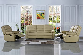 Traditional Classic Reclining Sofa Set   Real Grain Leather   Double  Recliner, Loveseat, Single