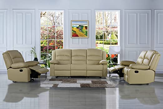 Divano Roma Furniture Traditional Classic Reclining Sofa Set - Real Grain Leather Match - Double Recliner, Loveseat, Single Chair (Beige)