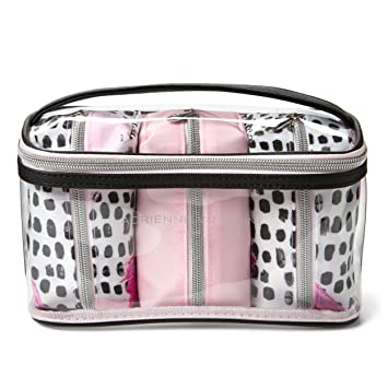 c5f22ae52b48 Amazon.com   Adrienne Vittadini Cosmetic Compact Travel Toiletry Bag Set  One Large Train Case with 3 Nested Smaller Cosmetic Pouches for Women and  Girls ...