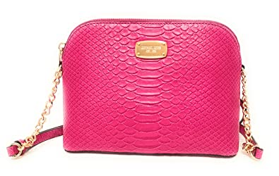 7bff86eec2a8 Image Unavailable. Image not available for. Color  Michael Kors Embossed Leather  Cindy Large Dome Cross Body Bag Fuschia