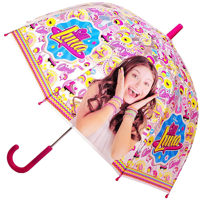 Unbekannt Regenschirm -  Disney - Soy Luna  - inkl. Name - Kinderschirm Ø 70 cm / durchsichtig & durchscheinend - transparent - Kinder - groß Stockschirm mit Griff - .. Unbekannt - Regenschirm - Disney - Soy Luna