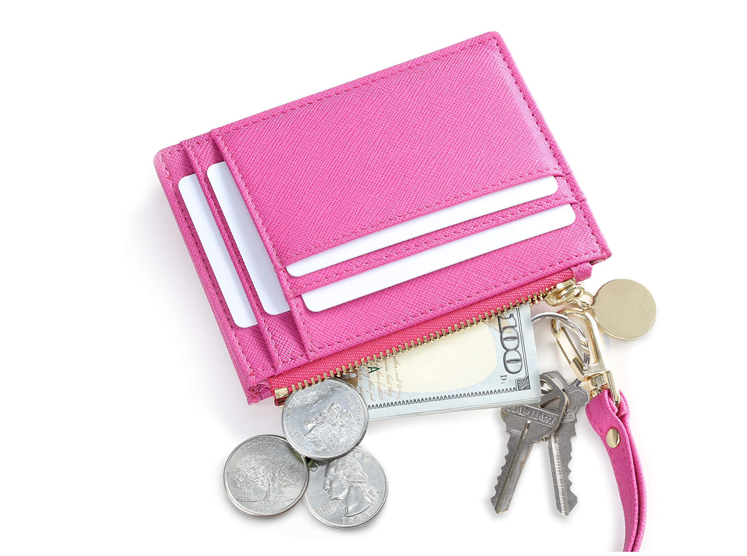 SERMAN BRANDS Slim Wristlet Card Case Holder Small RFID Blocking Wallet Change Purse for Women Keychain - Removable Wristlet Strap (Fuchsia CH)