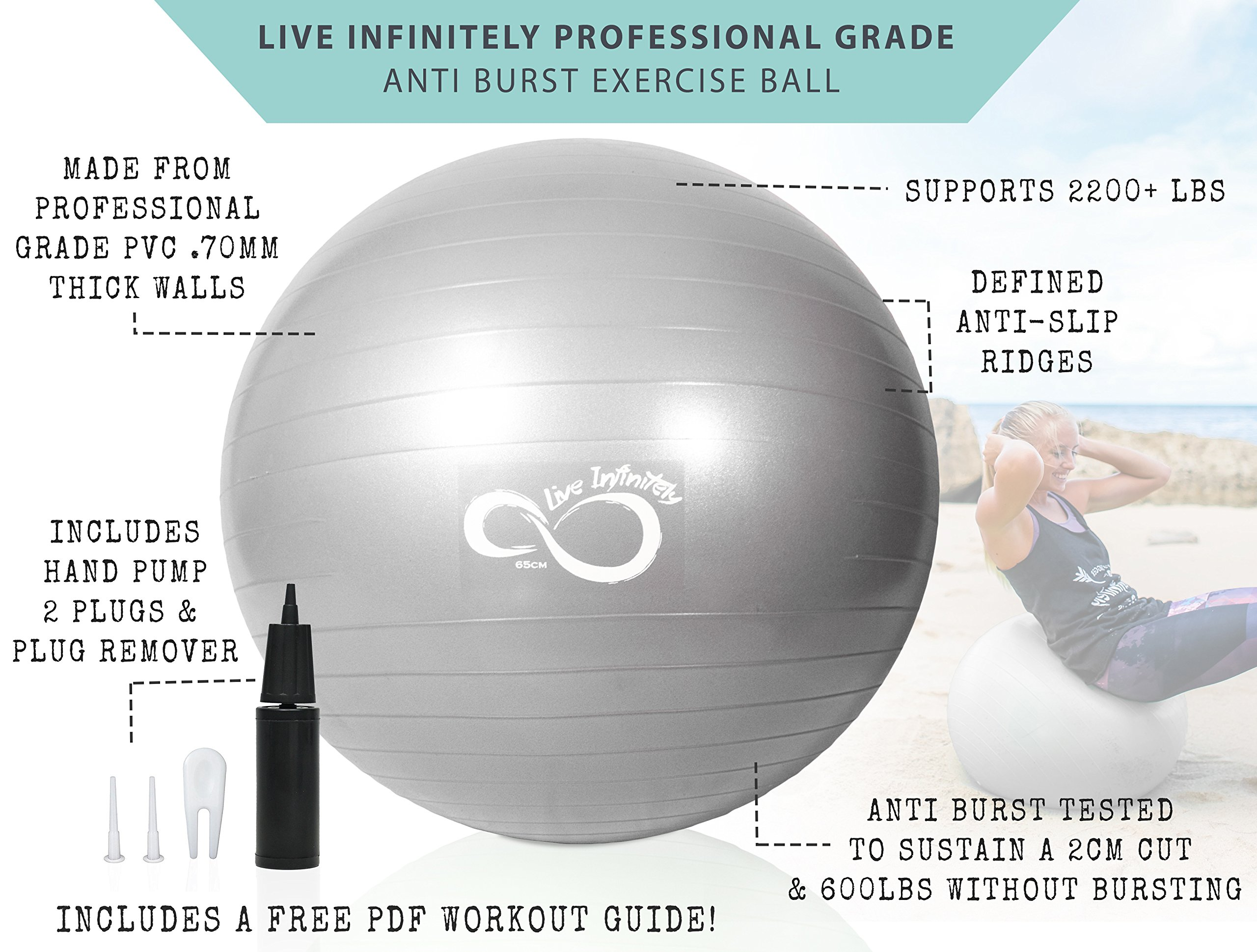 Exercise Ball -Professional Grade Exercise Equipment Anti Burst Tested with Hand Pump- Supports 2200lbs- Includes Workout Guide Access- 55cm/65cm/75cm/85cm Balance Balls (Light Silver, 65 cm) by Live Infinitely (Image #2)
