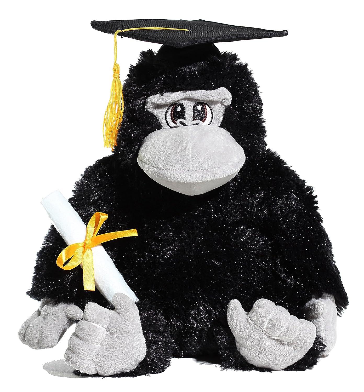 12 G10112-12 black Calplush Fuzzy Black Graduation Gorilla Plush