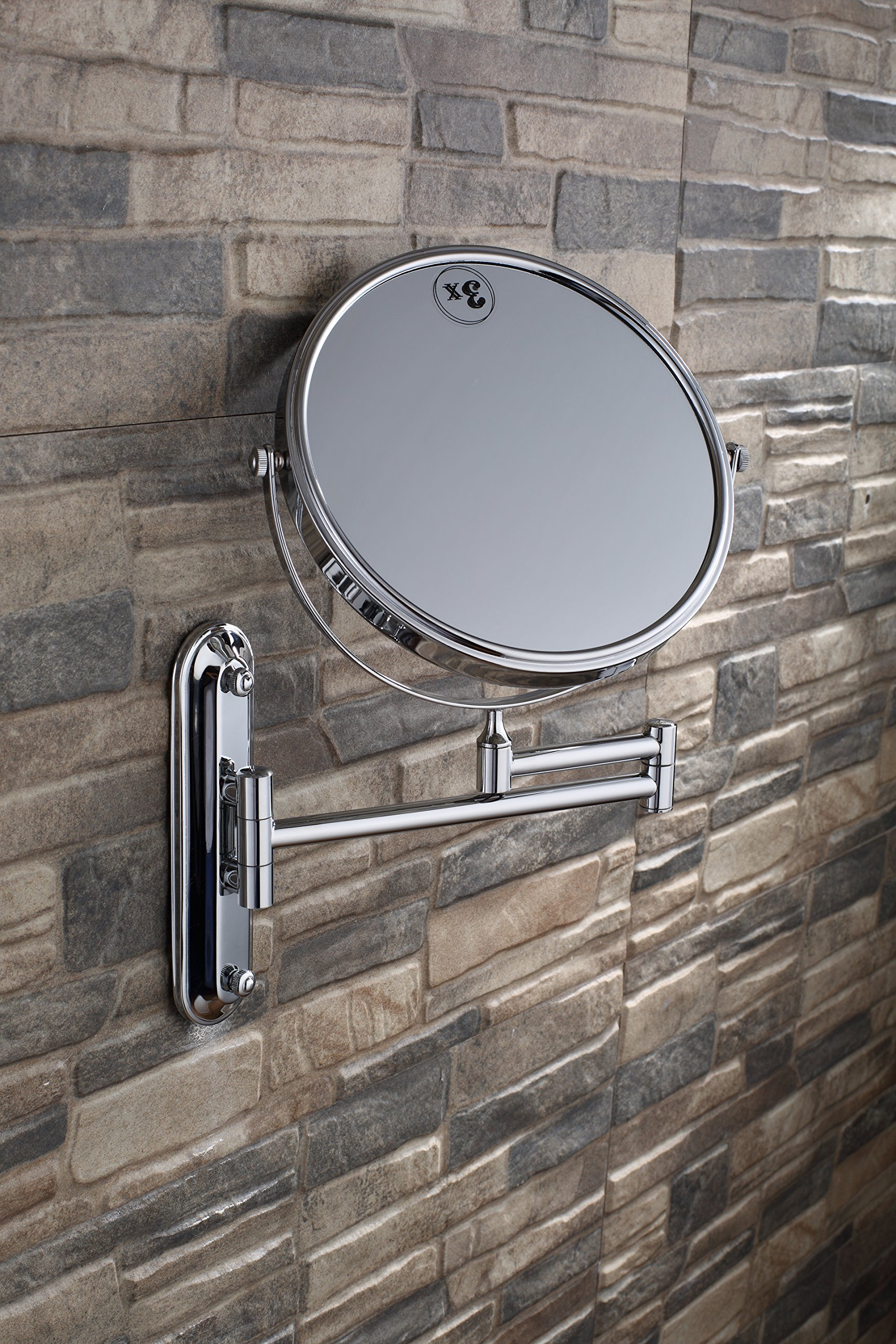 SiKER Beauty Mirror Full Copper Wall-Mounted Vanity Mirror Foldable Rotating Bathroom Three Times magnified Make-up Mirror Eight inches by SiKER (Image #3)
