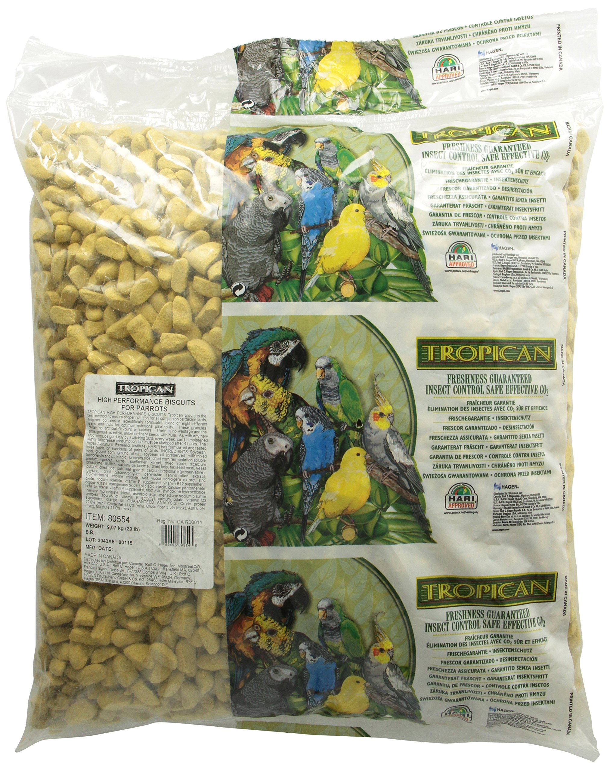 Tropican High Performance Parrot Biscuits, 20-Pound by Hari
