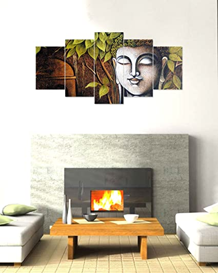 PRINTELLIGENT Wooden Framed Buddha 5 Wall Art Panels - (10x20-inches ...