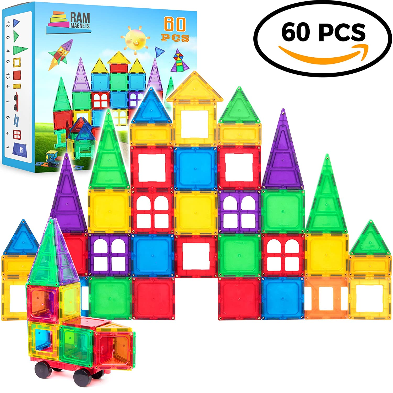 Magnetic Building Blocks 60 Piece Set, Strongest Shape Tiles, Toy Building Sets, Magnets for Kids, Suitable for Three Year Olds and Up, 3D & 2D Logical Reasoning Game, Educational Children's Block Toy Review