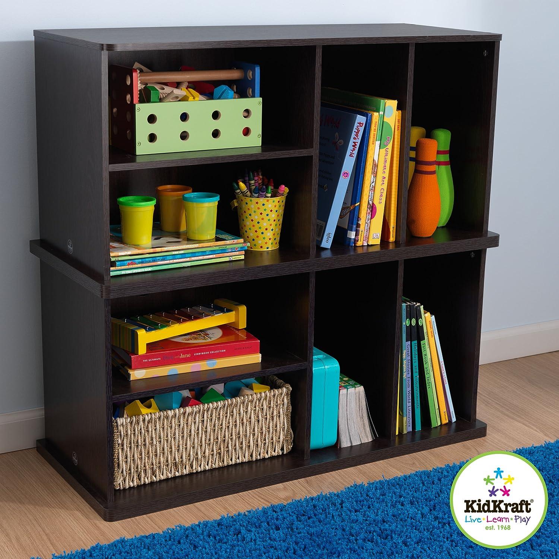 kidkraft storage unit with shelves espresso toys