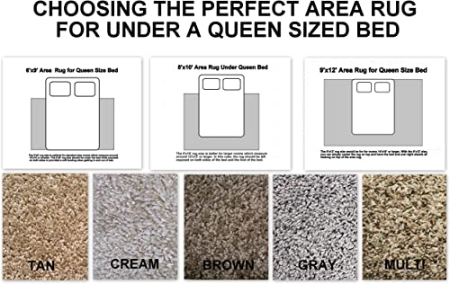 Choosing The Perfect Area Rug for Under A Queen Size Bed. Multiple Colors and Size Options to Choose from 9×12, Gray