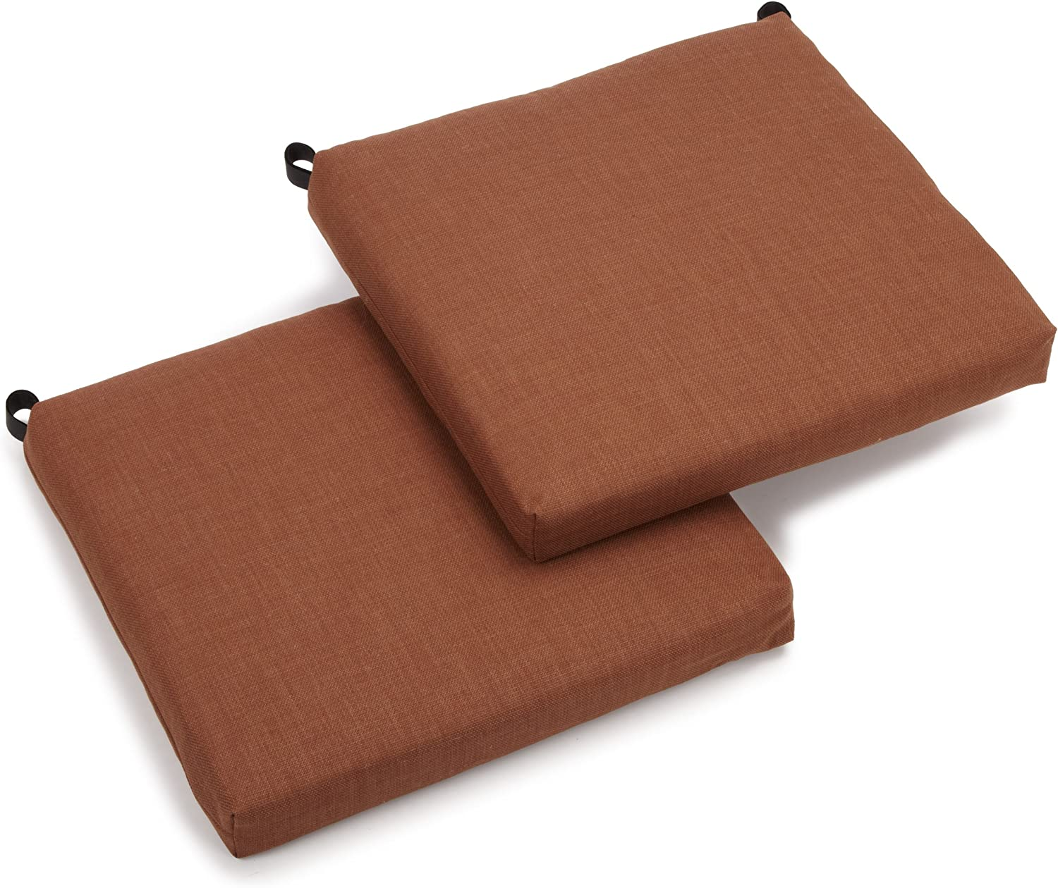Blazing Needles Outdoor Spun Poly 19-Inch by 20-Inch by 3-1 2-Inch All Weather UV Resistant Zippered Cushions, Mocha, Set of 2