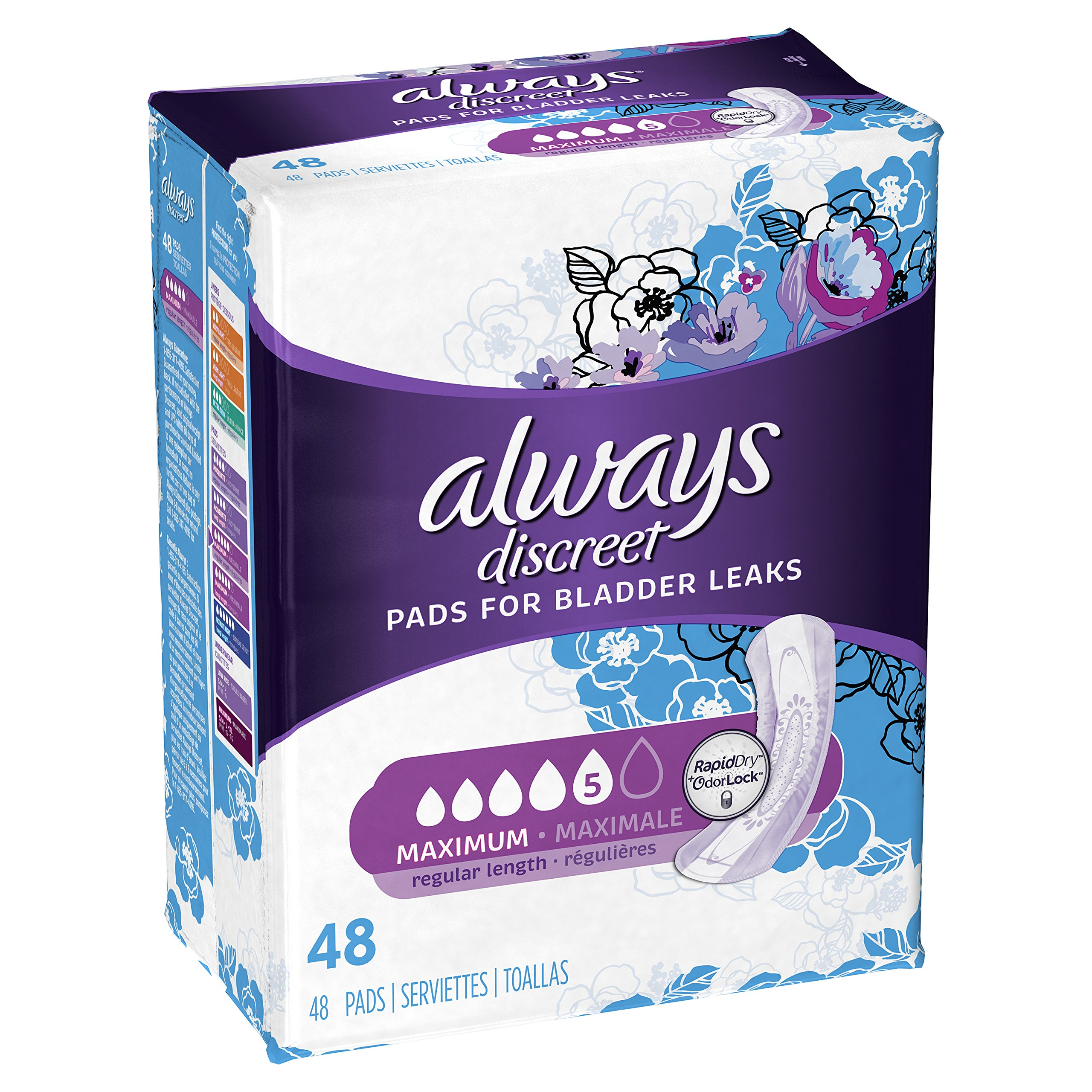 Always Discreet, Incontinence Pads, Maximum, Regular Length, 48 Count by Always Discreet (Image #2)