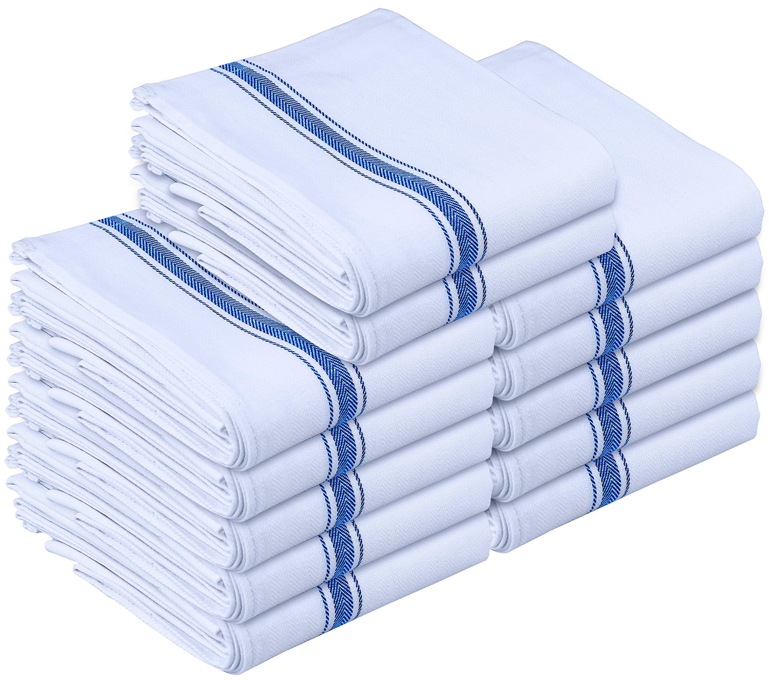 Utopia Towels Kitchen Towels - Dish Cloth (12 Pack) - Machine Washable Cotton White Kitchen Dishcloths, Dish Towel & Tea Towels (15 x 25 Inch) - by