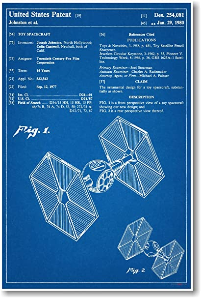 Amazon star wars tie fighter patent new famous invention star wars tie fighter patent new famous invention blueprint poster malvernweather Images