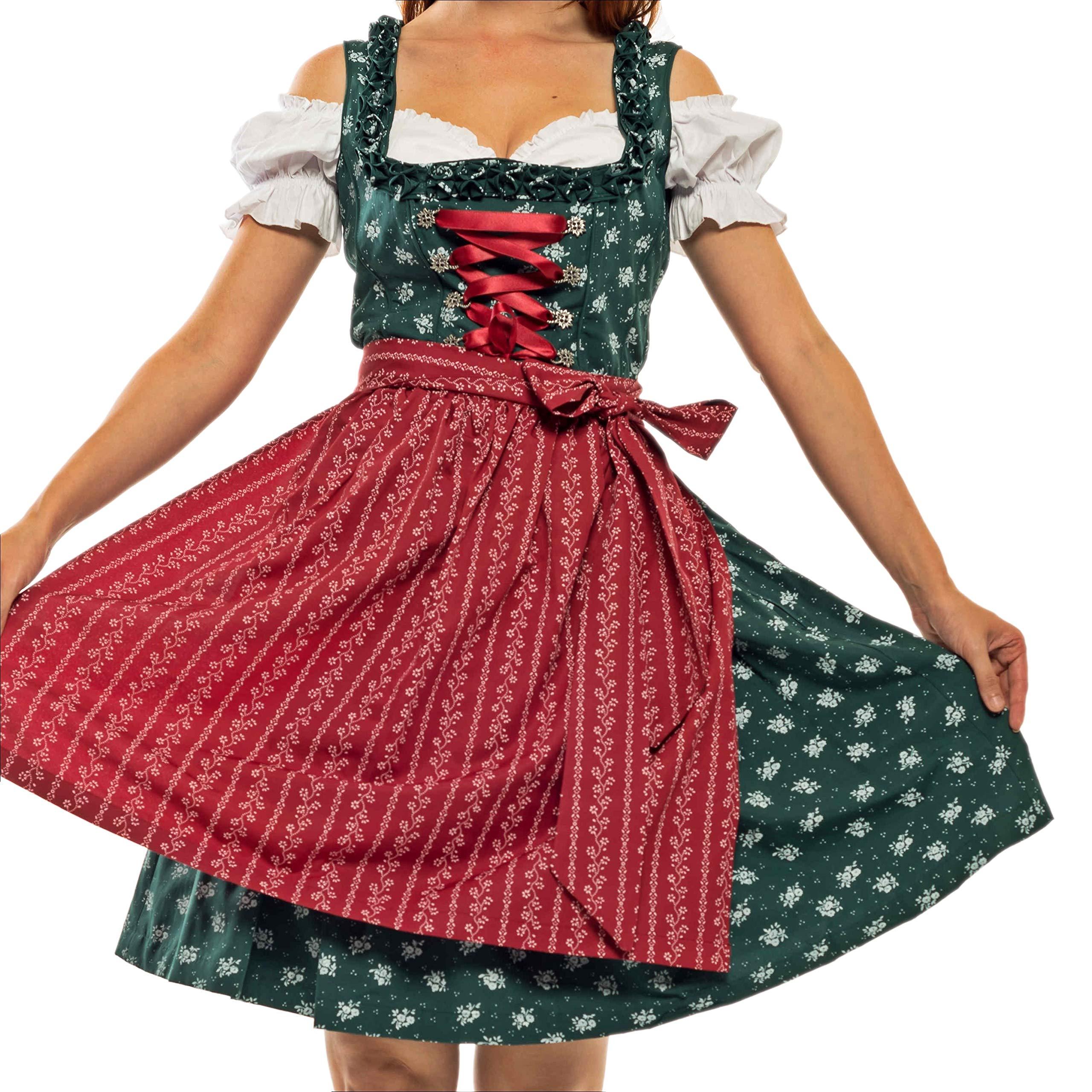 Lifos 0262 Oktoberfest Dirndl 3Pcs Dresses Blouse Apron (44) Green by Lifos
