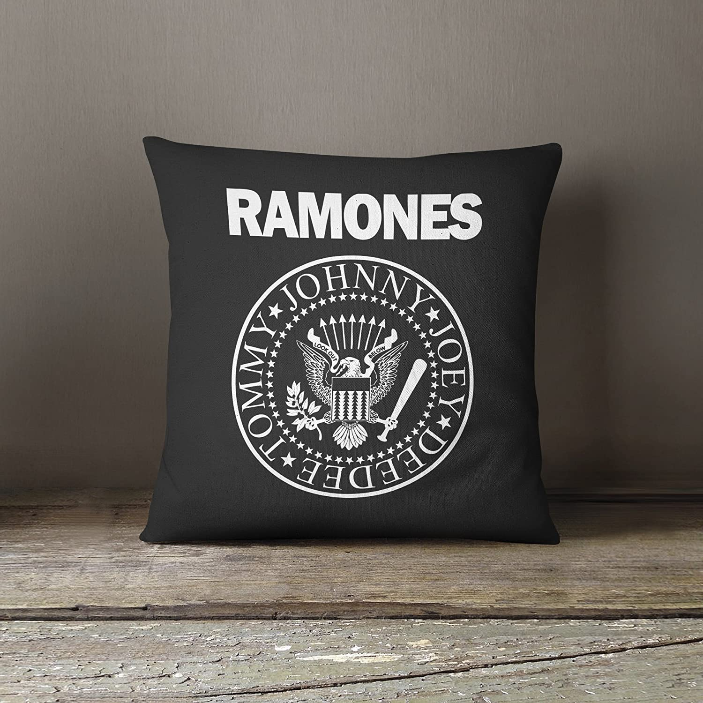 40cmx40cm Negro Almohada de algod/ón Decorative Pillow LaMAGLIERIA Coj/ín Decorativo Ramones White Print