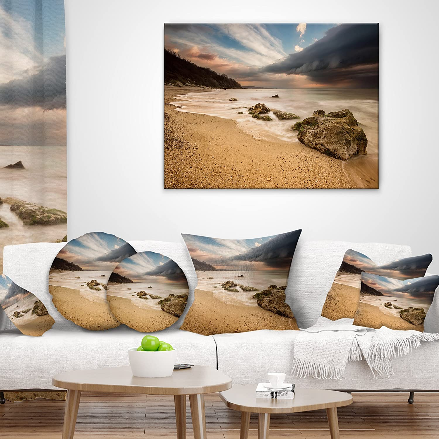Designart CU10635-18-18 Exotic Seashore with White Waves Beach Photo Cushion Cover for Living Room Sofa Throw Pillow 18 in x 18 in in Insert Printed On Both Side