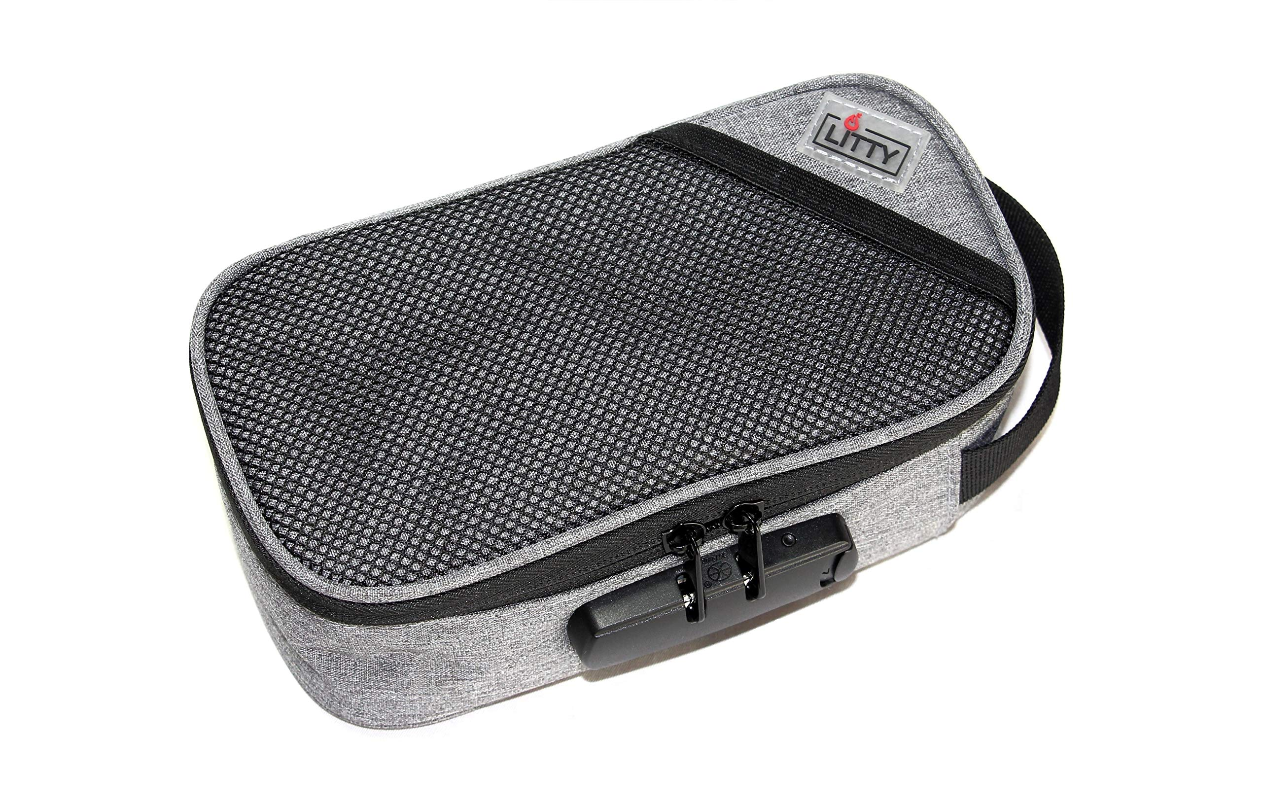Smell Proof Case with Combination Lock | Premium Carbon Lined Odorless Bag | by Litty (Gray)