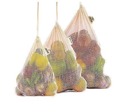 Bolsas para Frutas y Verduras - Bolsas de Compras Reutilizables Bolsas Ecologicas para la Compra - Bolsas de Tela Fruta - Bolsas Fruta Reutilizables - ...