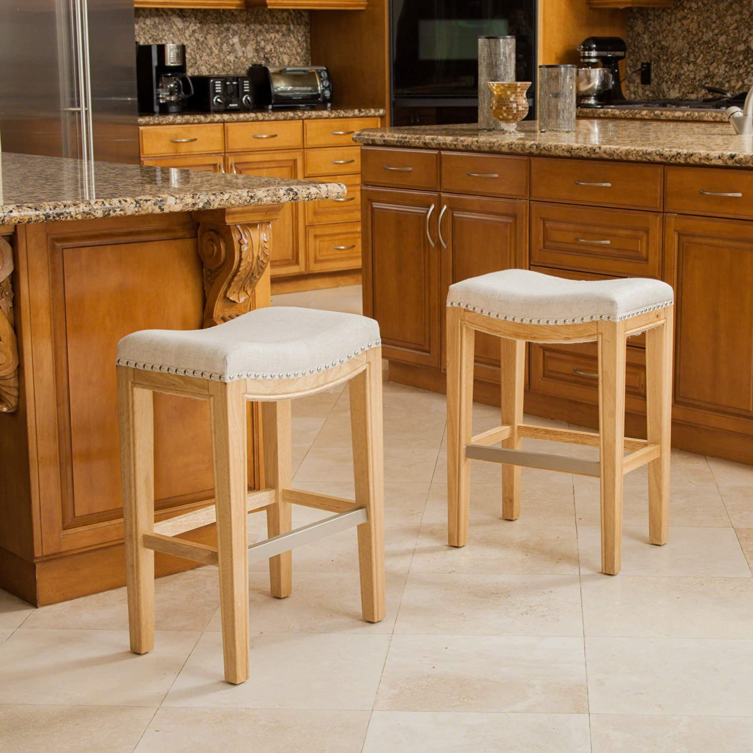 Christopher Knight Home 237492 Jaeden Beige Backless Counter Stool Set of 2 , BrownWhite