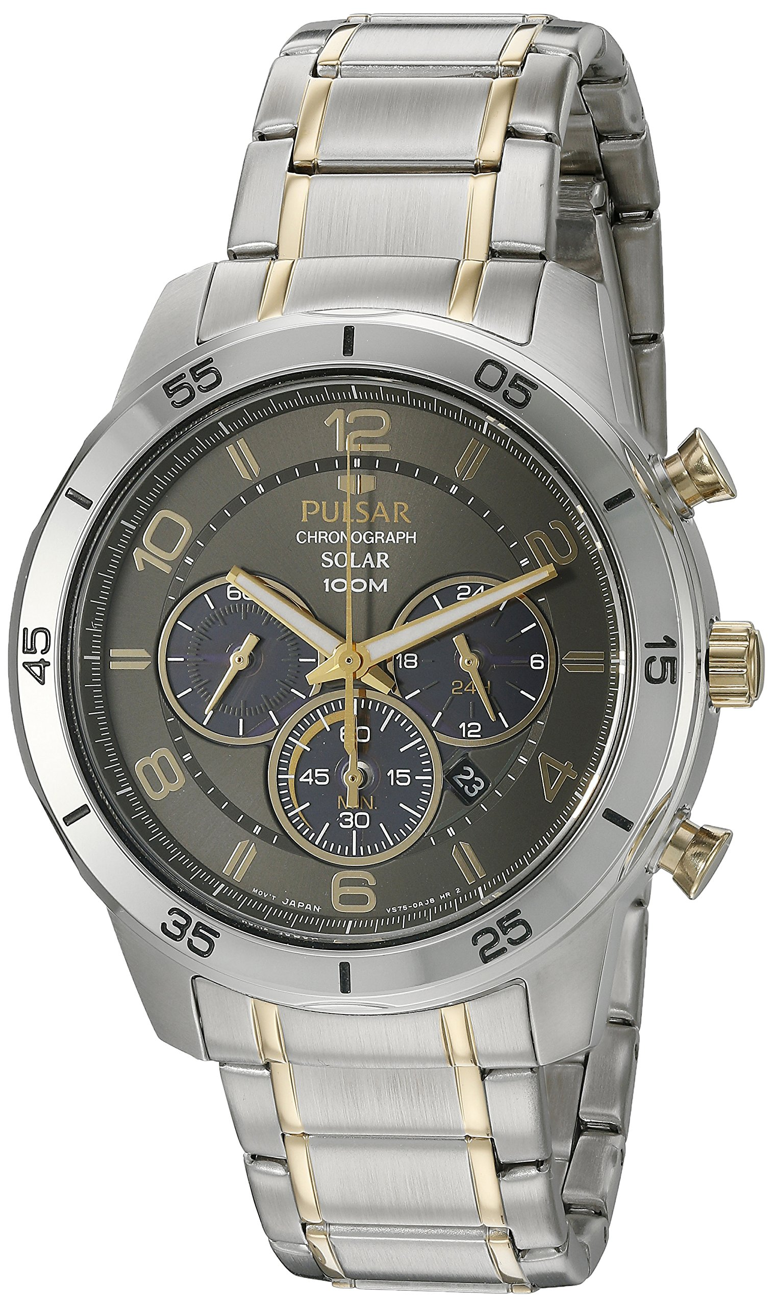 Pulsar Men's 'Chronograph Solar' Quartz Stainless Steel Dress Watch (Model: PX5057) by Pulsar