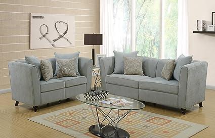 Living Room Modern Velveteen Fabric Bobkona 2pcs Sofa Set Taupe Color Sofa  Loves Seat W