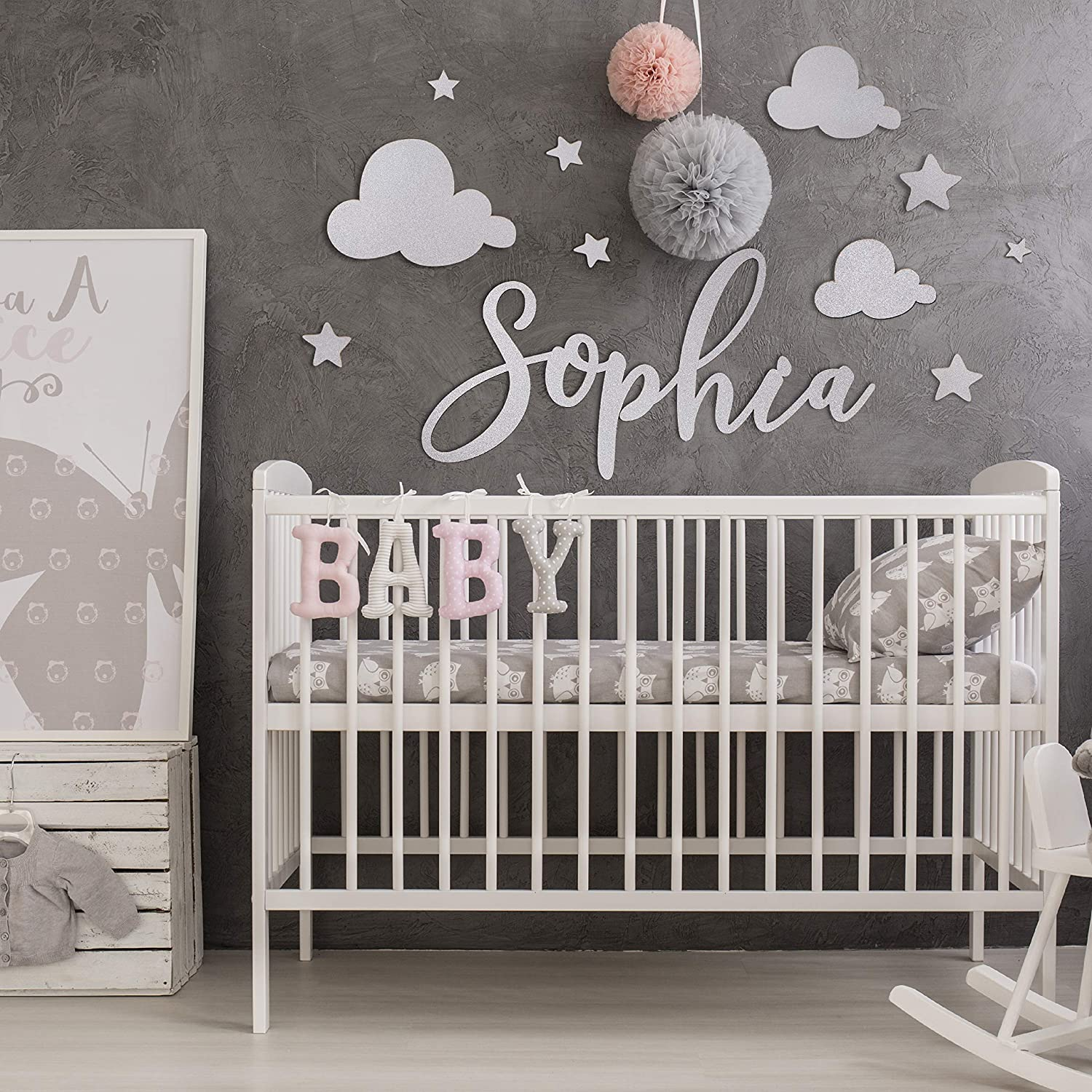 Custom Wood Signs Personalized Handlettered 16x24 Cloud Gray Wood Baby Room Sign Custom Wood Nursery Sign Custom Wood Sign Shop