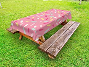 Ambesonne Pink and White Outdoor Tablecloth, Abstract Pattern of Colorful Donut Sprinkles Tasty Food Bakery Theme, Decorative Washable Picnic Table Cloth, 58