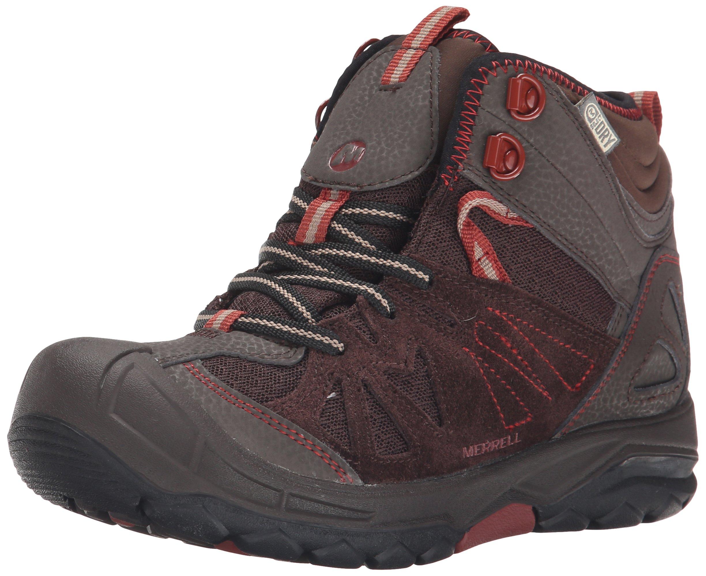 Merrell Capra Mid Waterproof Hiking Boot (Toddler/Little Kid/Big Kid),Brown,5 M US Big Kid