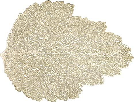 Amazon Com Luckydream Gold Vinyl Leaf Placemats Set Of 12 Non Slip Durable Heat Resistant Golden Metallic Pressed Hollowed Out Vinyl Leaf Placemat Decorative Pvc Place Mat 18 5 X 14 5 Inch Champagne Gold Kitchen