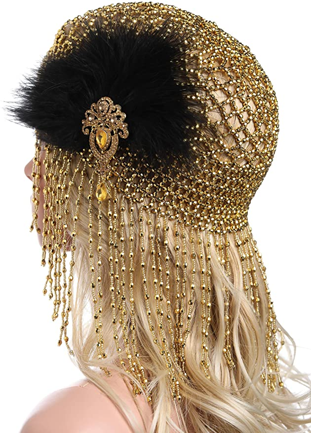 1920s Headband, Headpiece & Hair Accessory Styles ArtiDeco 1920s Flapper Cap Vintage Style Roaring 20s Beaded Flapper Headpiece Exotic Cleopatra Headpieces Egyptian Cleopatra Belly Dance Headpieces £17.99 AT vintagedancer.com
