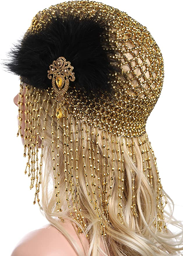 1920s Hairstyles History- Long Hair to Bobbed Hair ArtiDeco 1920s Flapper Cap Vintage Style Roaring 20s Beaded Flapper Headpiece Exotic Cleopatra Headpieces Egyptian Cleopatra Belly Dance Headpieces £17.99 AT vintagedancer.com