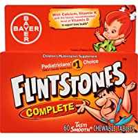 Flintstones Complete Chewables Children's Multivitamins, Kids Vitamin Supplement with Vitamins C, D, E, B6, and B12, 60 Count (Pack of 3)
