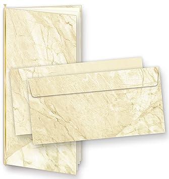 Einladungskarten Marmor (25 Sets) Zum Selbst Gestalten, Mit Einlegeblätter  + Goldbänder,