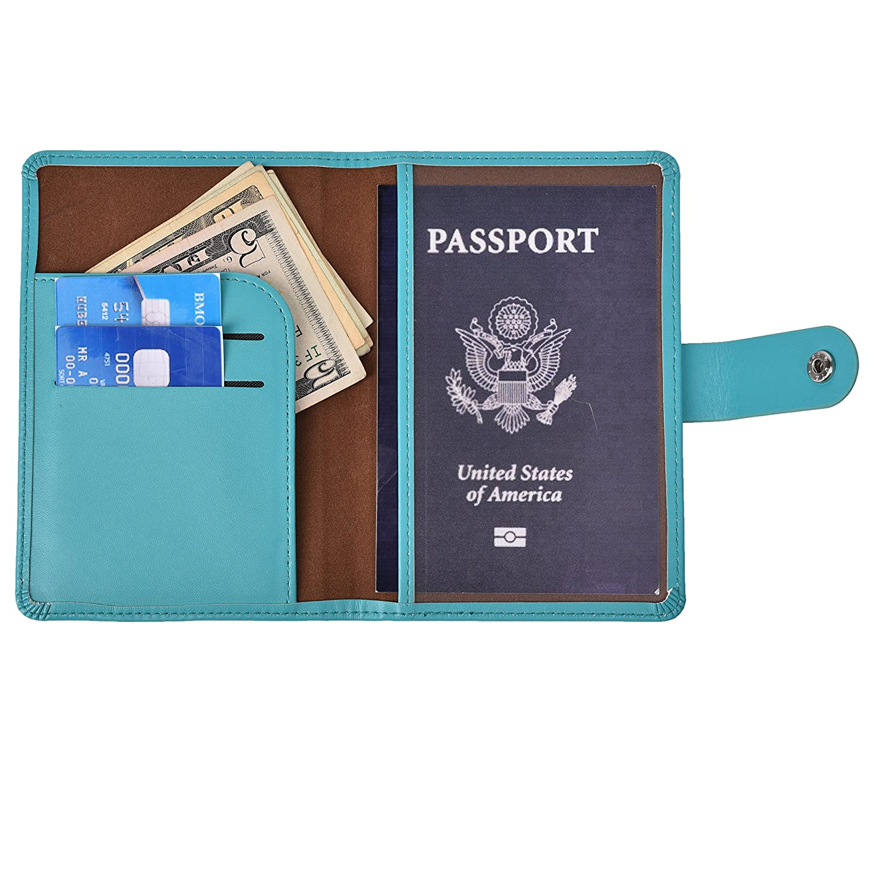 Hopsooken RFID Blocco del passaporto del cuoio del supporto Travel wallet Id Card Case Cover Viaggio Ala tasca