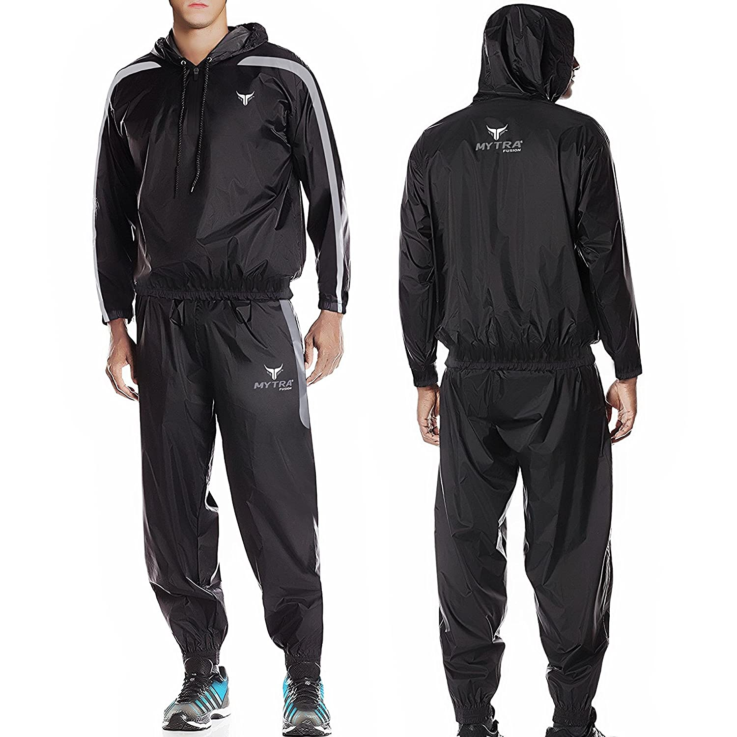 Mytra Fusion Weight Loss Sliming Fitness Sauna Sweat Suit BlackGrey