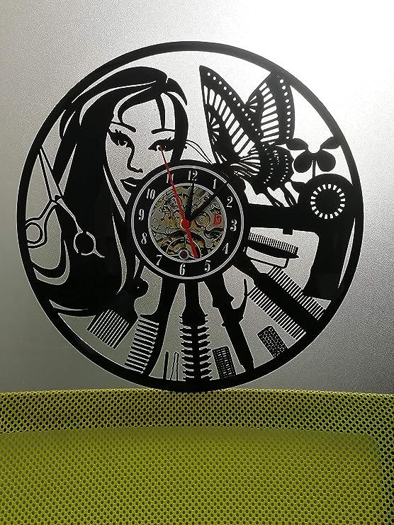 Meet Beauty - Reloj de Pared de Vinilo, Ideal para peluquería, Peluquería, Peluquería, Negocios, diseño Moderno, 30,5 cm, Color Negro: Amazon.es: Hogar