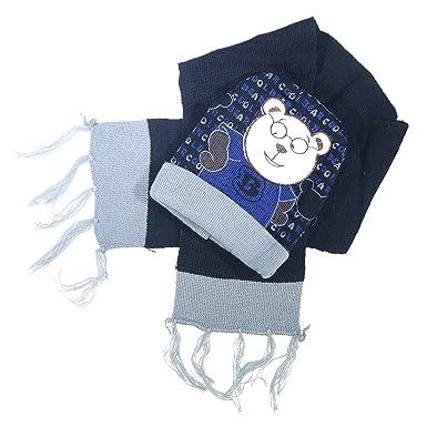 4ab57916c17b Trifolium - Ensemble bonnet, écharpe et gants - Garçon - bleu - Taille  unique  Amazon.fr  Vêtements et accessoires