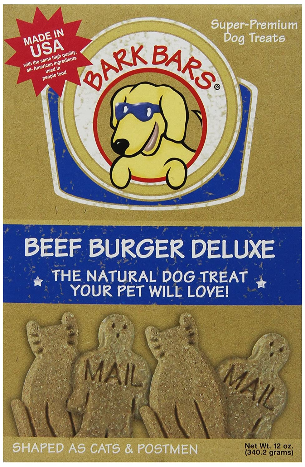 1 Pack 12 Total Ounces Bark Bars Deluxe Beef Burger Pet Treat, 12-Ounce