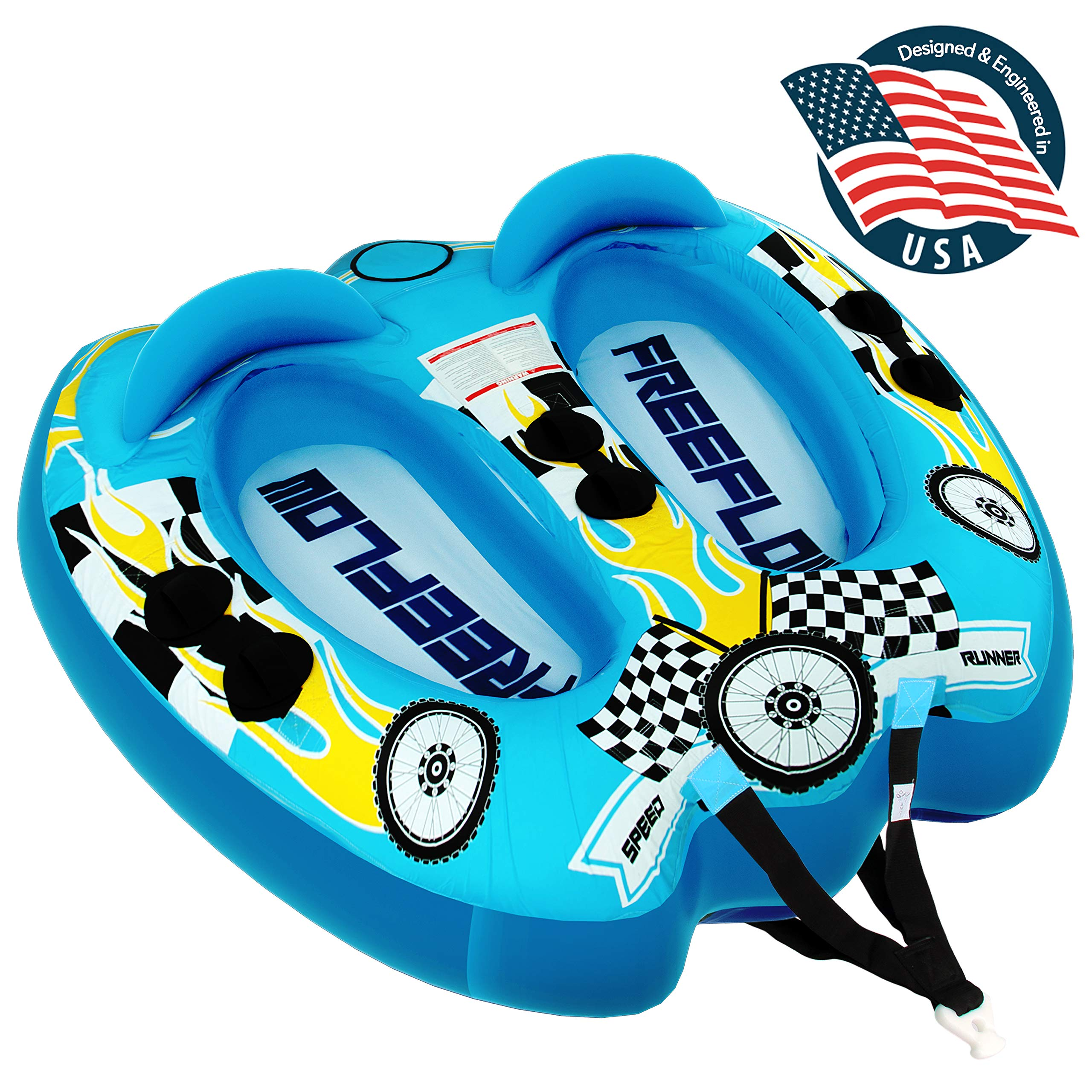 Watersports Inflatable Towable Booster Tube - Two Person Water Boating Float Tow Raft, Inflatable Pull Boats/Tubes/Towables w/ Dual Seats, PVC Bladder, Foam Pad, Nylon Handles - SereneLife SLTOWBL10 by SereneLife