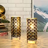 JHY DESIGN Set of 2 Metal Lamp Battery Powered,Cordless Accent Light with LED.Great for Weddings,Parties,Patio,Events…
