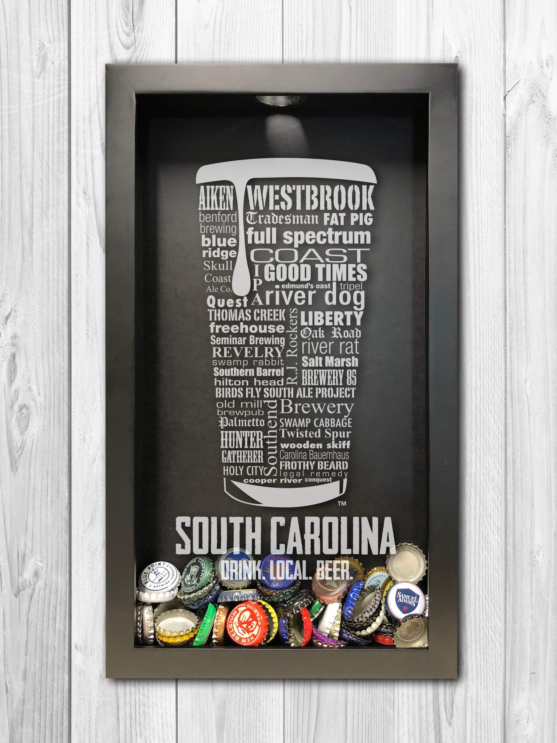 South Carolina Craft Beer Typography Bottle Cap Shadow Box, Beer Cap Holder