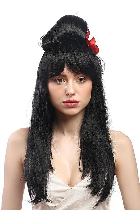 WIG ME UP ® - 90915-ZA103 Peluca Carnaval señoras; Negro, Largo Lisa con el Peinado updo Colmena Carmen España, China, Japón Geisha: Amazon.es: Juguetes y ...