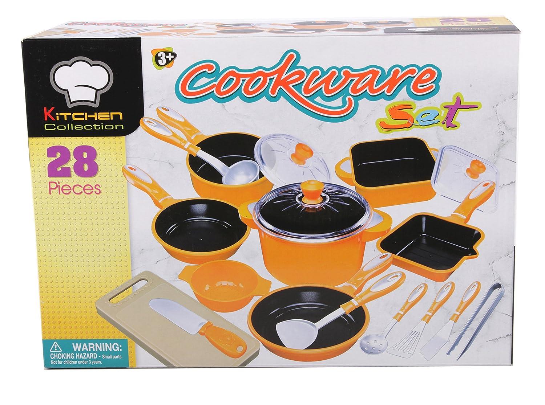 28 tlg Kochtopf Set für Spielküche Töpfe Pfannen Bräter viel Zubehör orange Haberkorn 226247